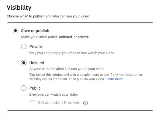 youtube uploaded video visibility options public private unlisted