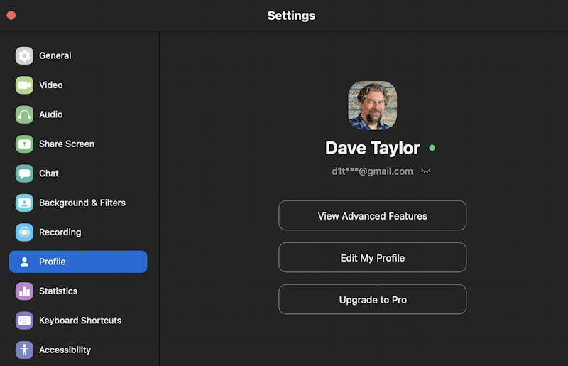 zoom user profile settings