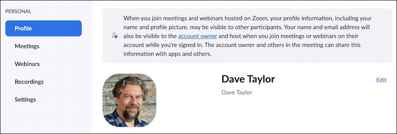 zoom account settings profile - on site
