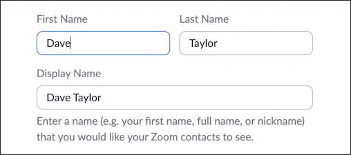 zoom profile on web site - user name
