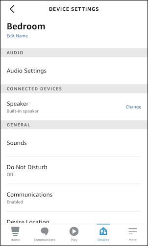 amazon alexa echo - change voice - device settings