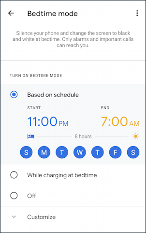 android digital wellness - bedtime mode - settings - sleep wake up times