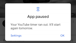 android app paused - digital wellness time limit timer reached