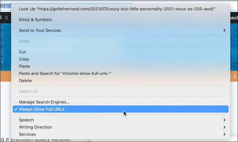 google chrome mac - control-click menu