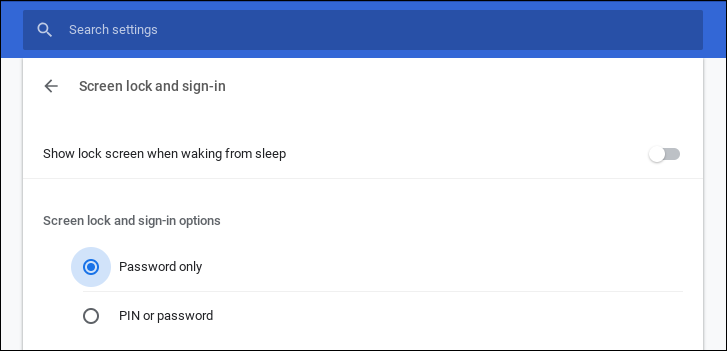 chromebook chromeos - login log-in options settings preferences pin