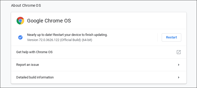 chromebook - about chrome os check version number update