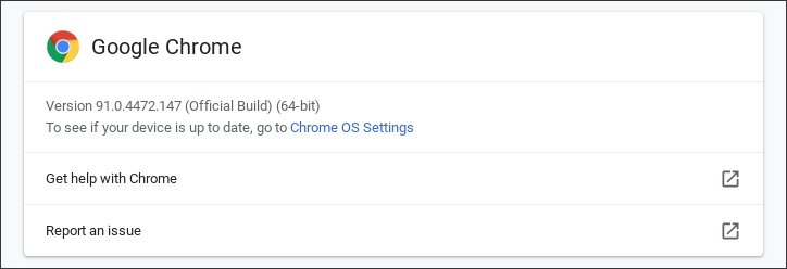 chromebook - about chrome os check version number updated new version 91