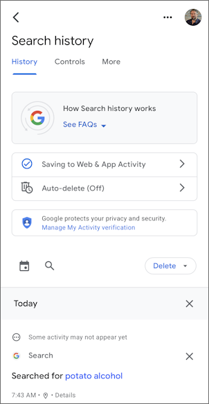 google search iphone ios14 - delete search history