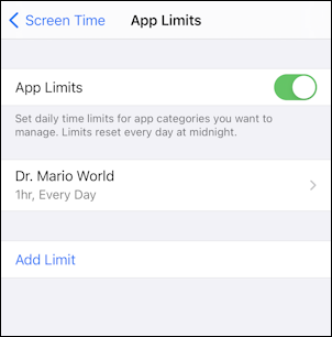 iphone ios 14 screen time app limit - dr mario