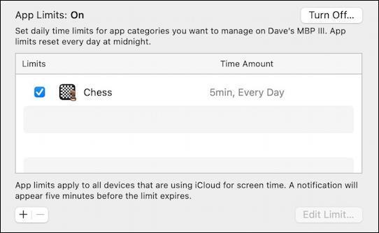 macos 11 - screen time limits - app limit set