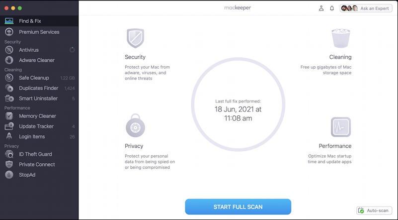 mackeeper main screen - clean up