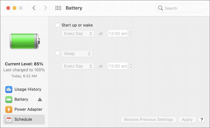 macos - battery system preference - schedule