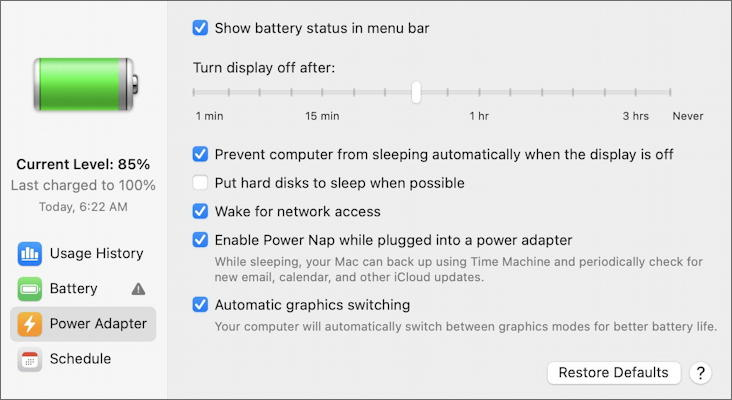 macos - battery system preference - plugged in power settings preferences