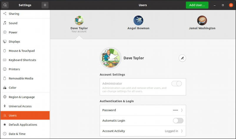 ubuntu linux - remove disable user account - settings > users