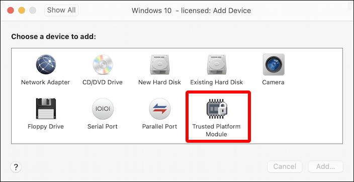 vmware fusion - add tpm 2.0 module - virtual machine -