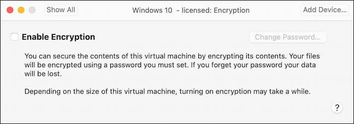 vmware fusion vm - encryption