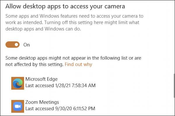 win10 desktop apps access webcam camera windows 10 win10