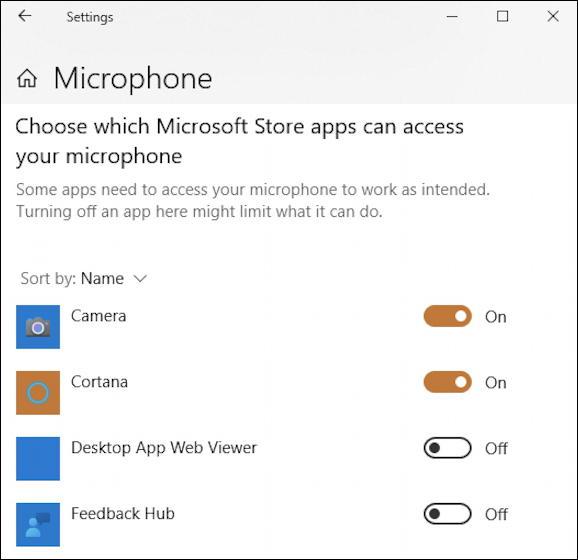 window 10 pc apps programs access webcam microphone mic