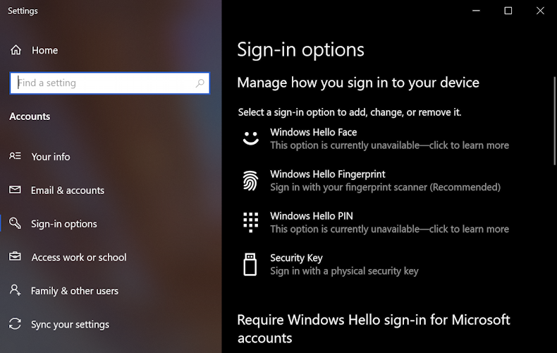 win10 sign-in options -