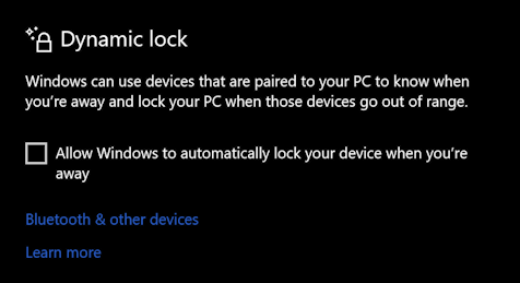 win10 sign-in options - dynamic lock -