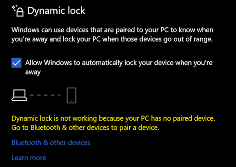 win10 sign-in options - dynamic lock - no paired device