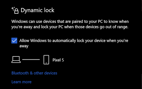 win10 sign-in options - dynamic lock - set up ready to use
