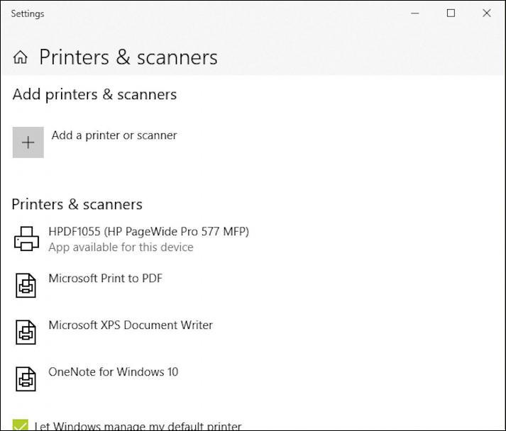 microsoft edge windows 10 - printers & scanners