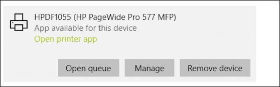 microsoft edge windows 10 - hp pagewidepro printer - queue manage remove
