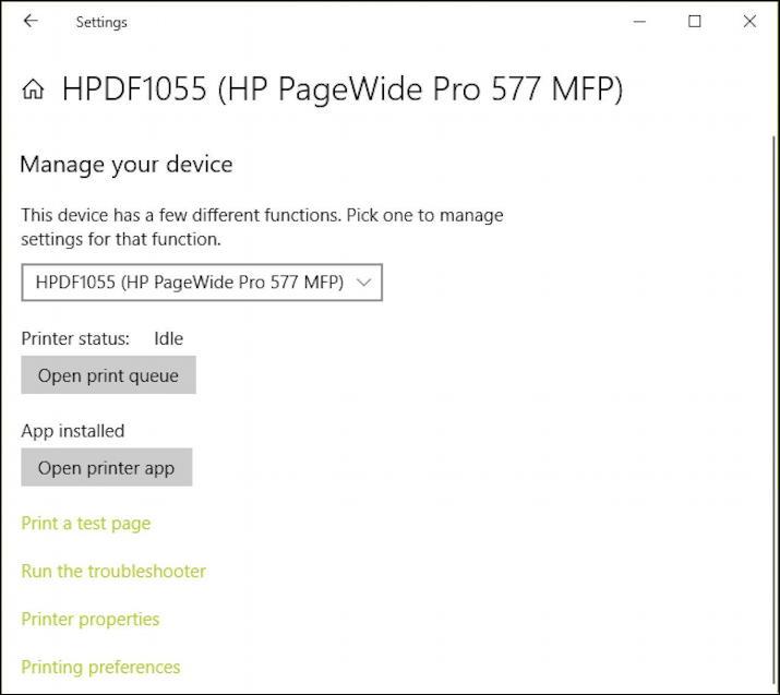 microsoft edge windows 10 - manage printer