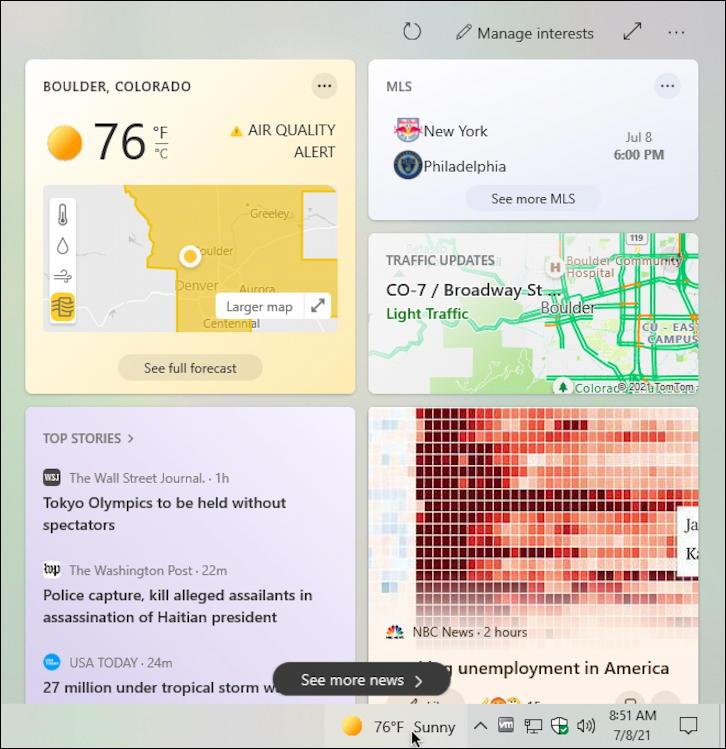 win10 taskbar weather widget news info display