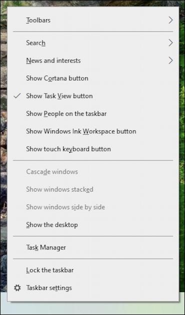 win10 taskbar weather widget - taskbar settings menu