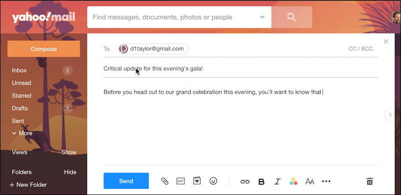 yahoo mail email - compose window