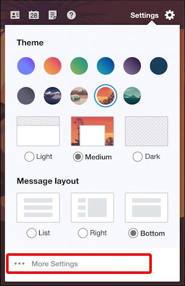 yahoo mail email - settings short menu