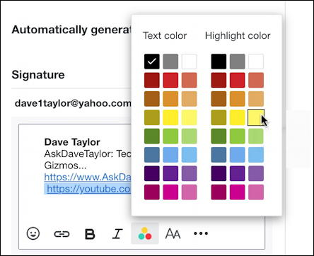 yahoo mail email - add highlight text color signature