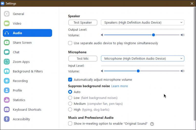 zoom pc windows - settings - audio