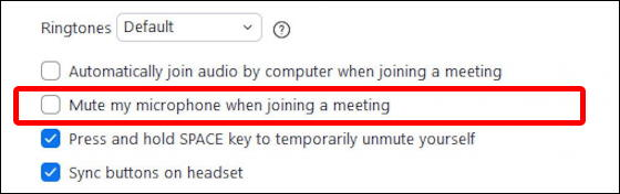 zoom windows pc - settings - audio - mute microphone when joining meeting