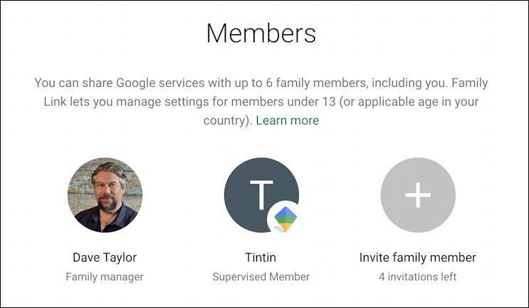 google one home screen - add family member - invite