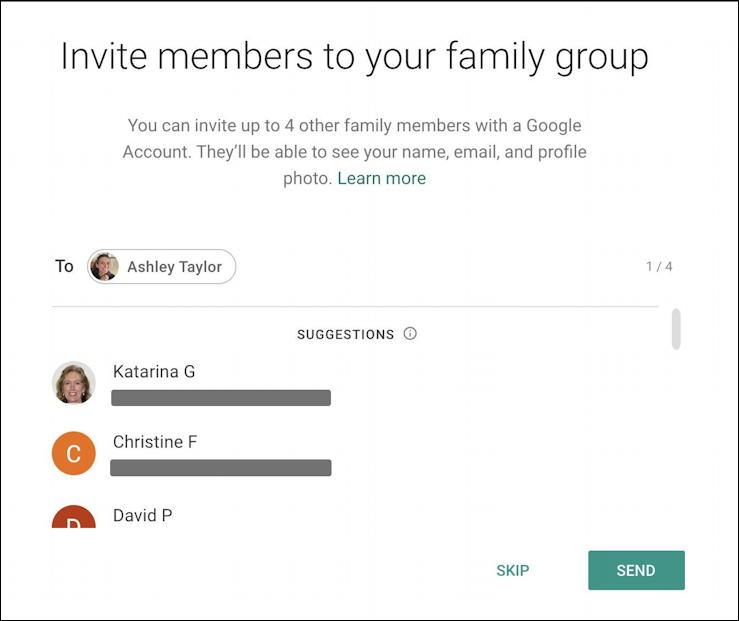 google one home screen - add family member - request invitation