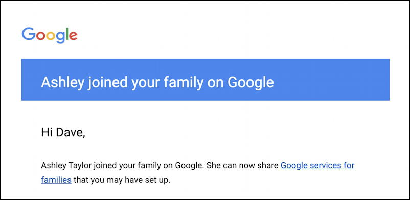 family member accepted google one family account invitation