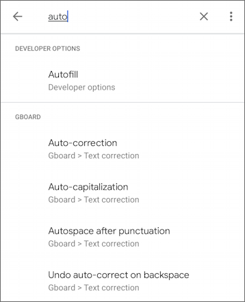 android settings - search for 'auto'