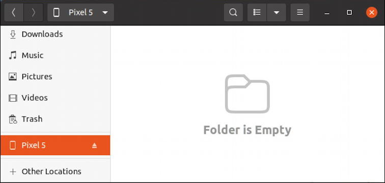 android file system on ubuntu linux - folder is empty