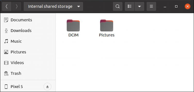 android file system on ubuntu linux - ptp photos videos