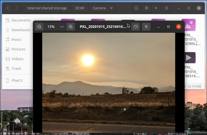 android file system on ubuntu linux - display photo picture image - dcim folder