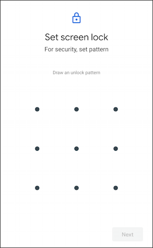 android change login to pattern security - grid -