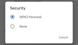 android wifi hotspot - enable - settings - security wpa wpa2
