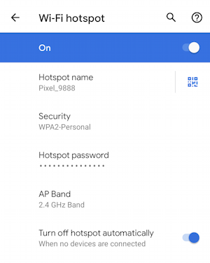 android wifi hotspot - enable - settings - network name, password