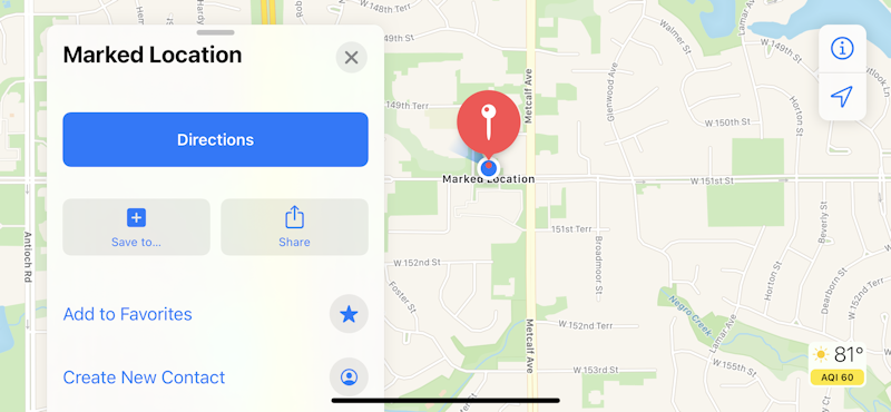 apple maps favorite location marked - add as favorite