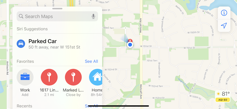 apple maps favorites shown
