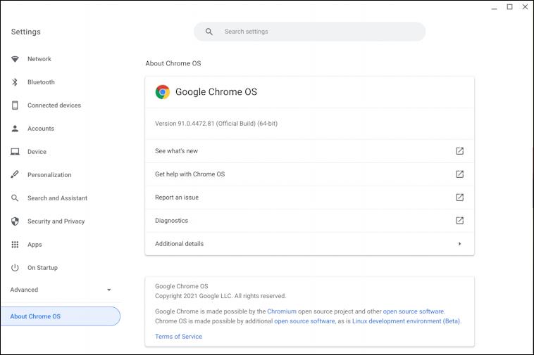 chromeos - chromebook - about chromeos version 91