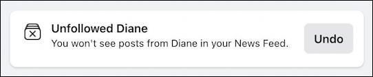 facebook you've unfollowed person